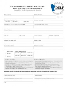 DELF registration form preview